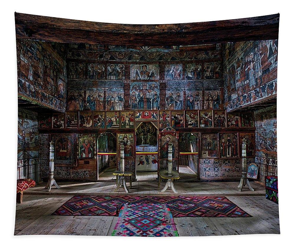 Romania Tapestry featuring the photograph Maramures Romania Church Interior by Stuart Litoff