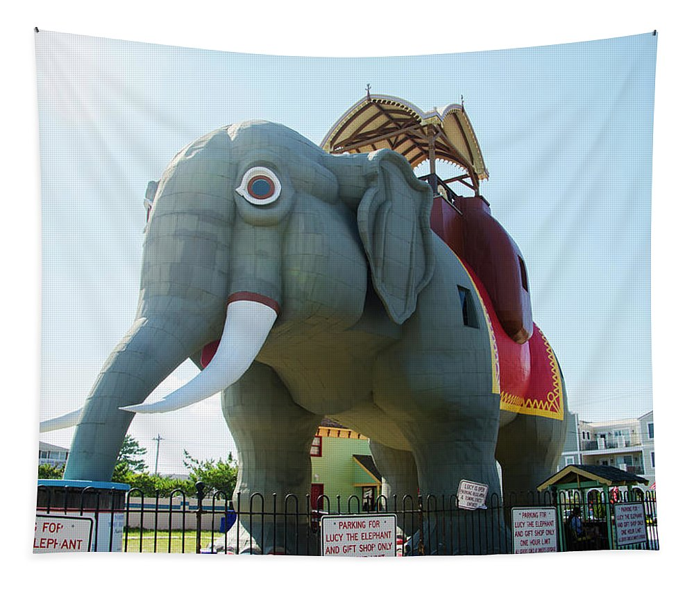 Margate Tapestry featuring the photograph Margate New Jersey - Lucy The Elephant by Bill Cannon