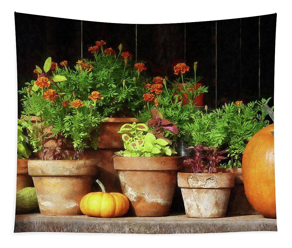 Autumn Tapestry featuring the photograph Marigolds And Pumpkins by Susan Savad