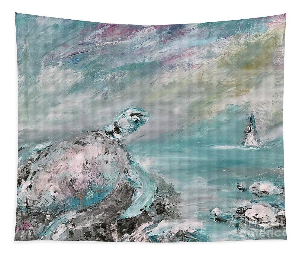 Sea Turtles Tapestry featuring the painting Marine Life by Dora Art