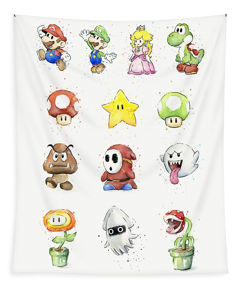 Mario Tapestry featuring the painting Mario Characters in Watercolor by Olga Shvartsur