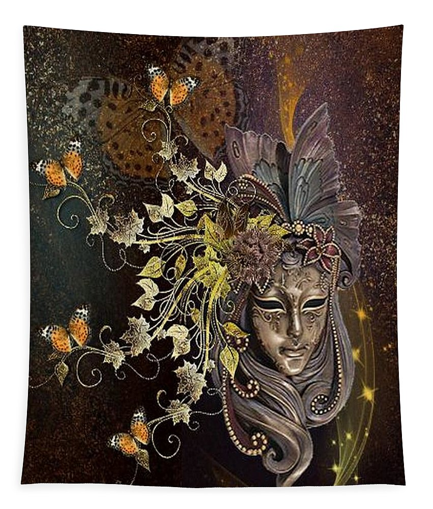 Fantasy Tapestry featuring the digital art Mask Of The Wind by Ali Oppy