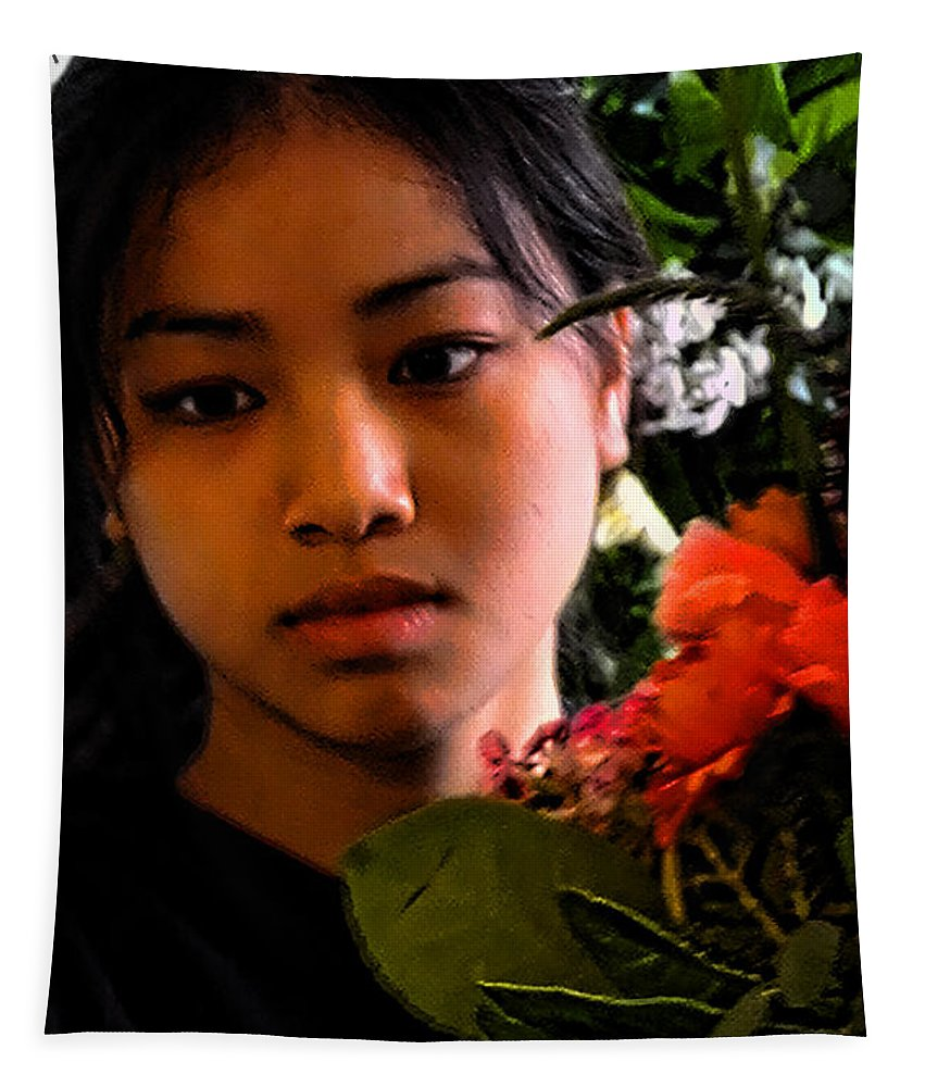 Asian Tapestry featuring the photograph Market Flower Seller by David Patterson