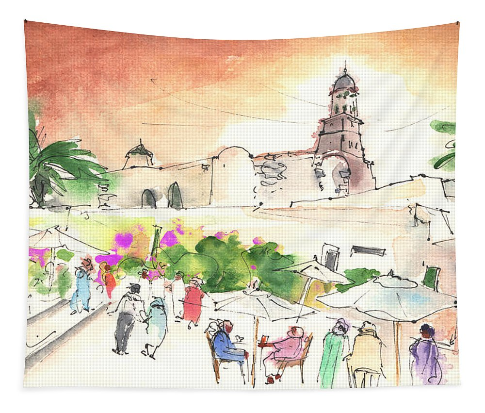 Travel Tapestry featuring the painting Market In Teguise In Lanzarote 02 by Miki De Goodaboom