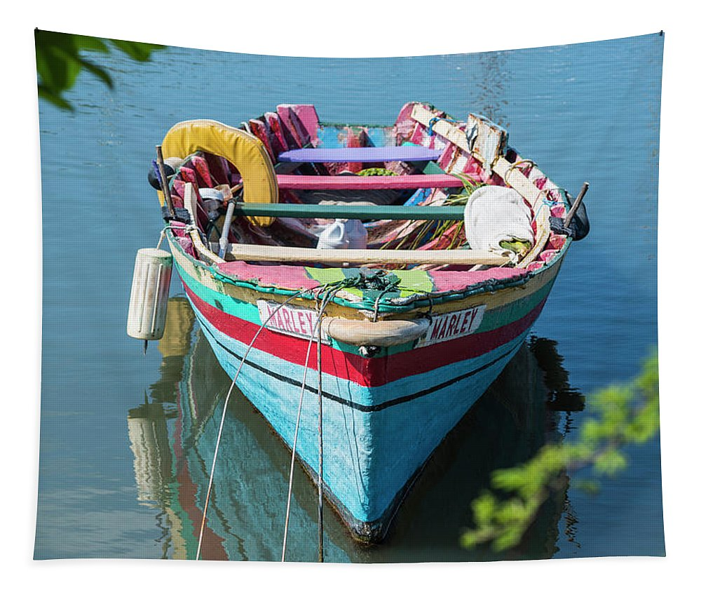 Rodney Tapestry featuring the photograph Marley Rowboat Rodney Bay Saint Lucia by Toby McGuire