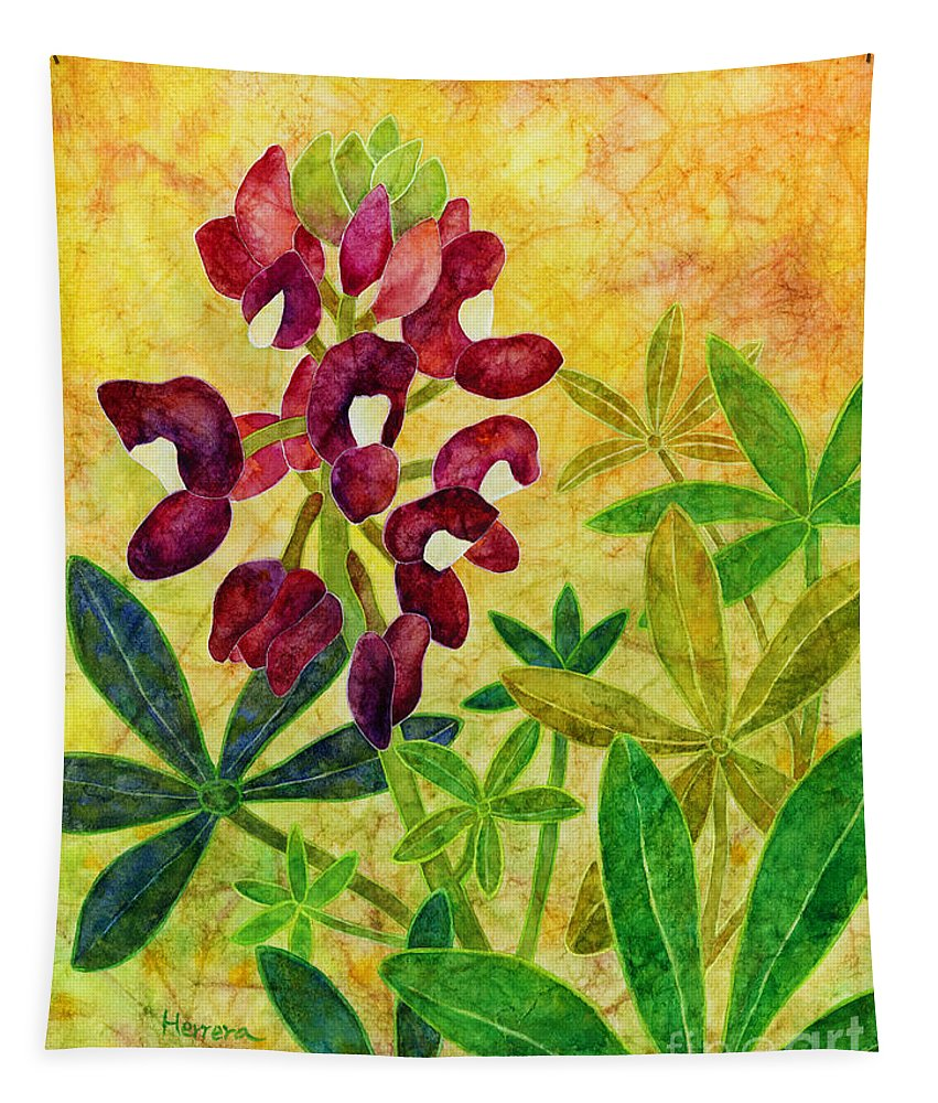 Bluebonnet Tapestry featuring the painting Maroon Bluebonnet by Hailey E Herrera