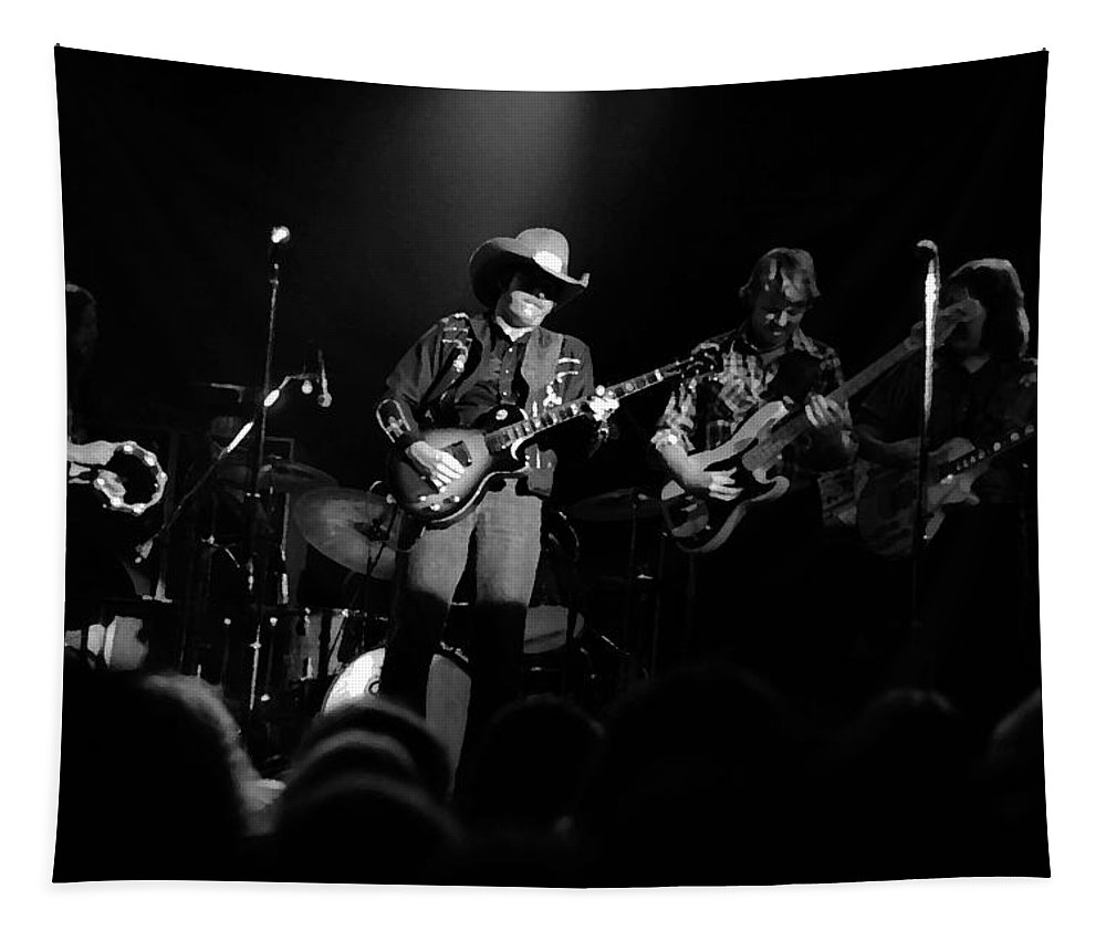 Marshall Tucker Tapestry featuring the photograph Marshall Tucker Winterland 1975 #12 Enhanced Bw by Ben Upham