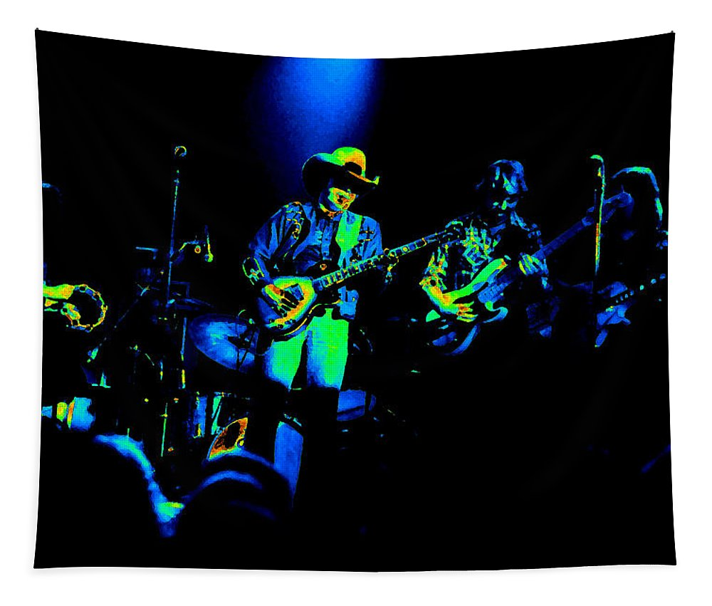 Marshall Tucker Tapestry featuring the photograph Marshall Tucker Winterland 1975 #12 Enhanced In Cosmicolors #2 by Ben Upham