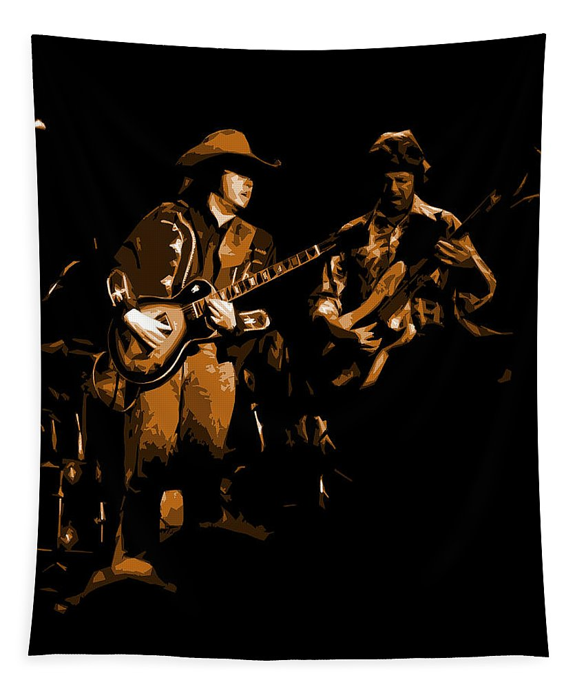 Marshall Tucker Tapestry featuring the photograph Marshall Tucker Winterland 1975 #17 Enhanced In Amber by Ben Upham
