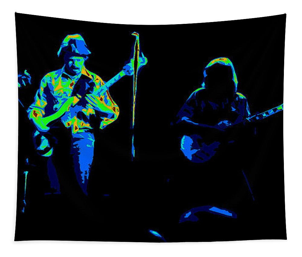 Marshall Tucker Tapestry featuring the photograph Marshall Tucker Winterland 1975 #18 Enhanced In Cosmicolors #2 by Ben Upham