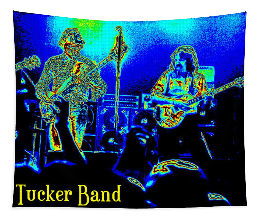 Marshall Tucker Tapestry featuring the photograph Marshall Tucker Winterland 1975 #18 In Special Cosmicolors With Text by Ben Upham