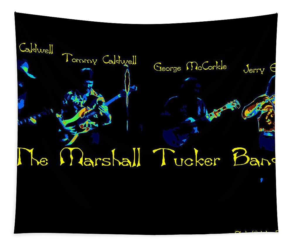 Marshall Tucker Tapestry featuring the photograph Marshall Tucker Winterland 1975 #19 Enhanced In Cosmicolors With Text by Ben Upham