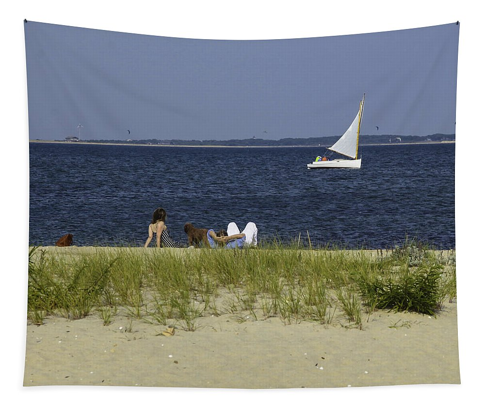 Sailboat Tapestry featuring the photograph A Day At The Beach 2 - Martha's Vineyard by Madeline Ellis