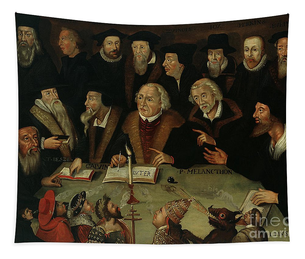 17th Century Tapestry featuring the painting Martin Luther In The Circle Of Reformers by German School