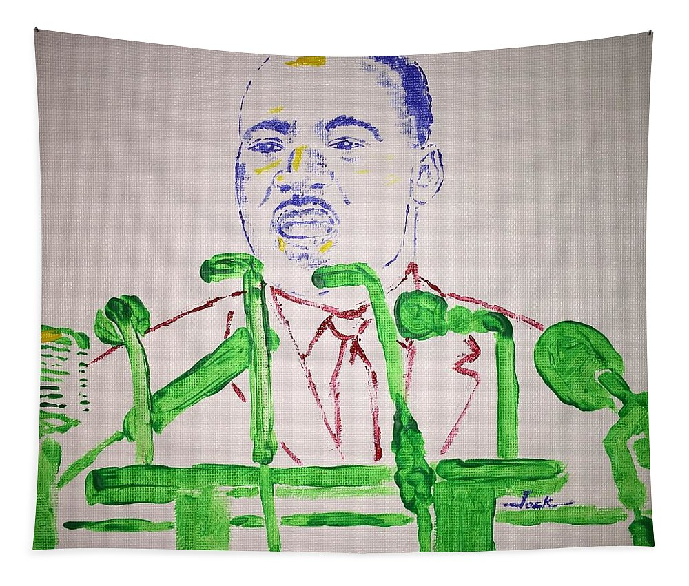 Martin Luther King Tapestry featuring the painting Martin Luther King by Jack Bunds