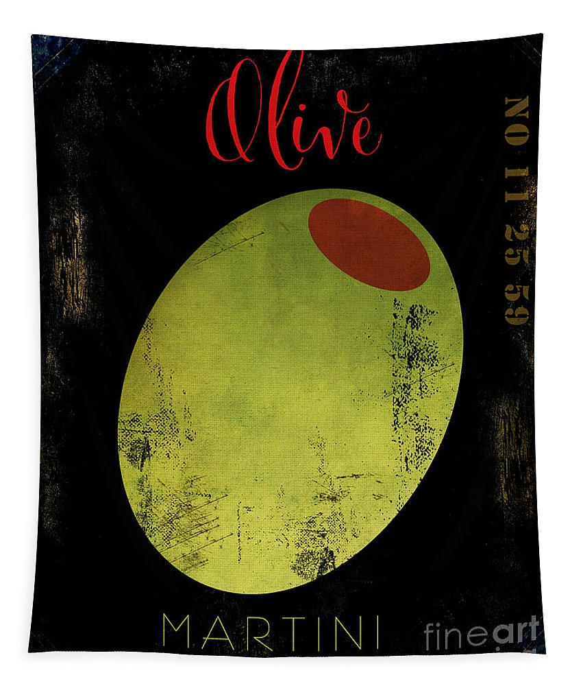 Martini Tapestry featuring the painting Martini Olive by Mindy Sommers