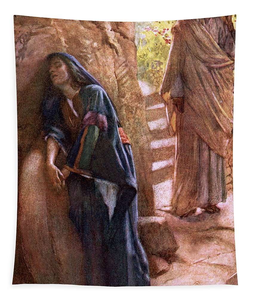 Mary Magdalene At The Sepulchre Tapestry featuring the painting Mary Magdalene At The Sepulchre by Harold Copping