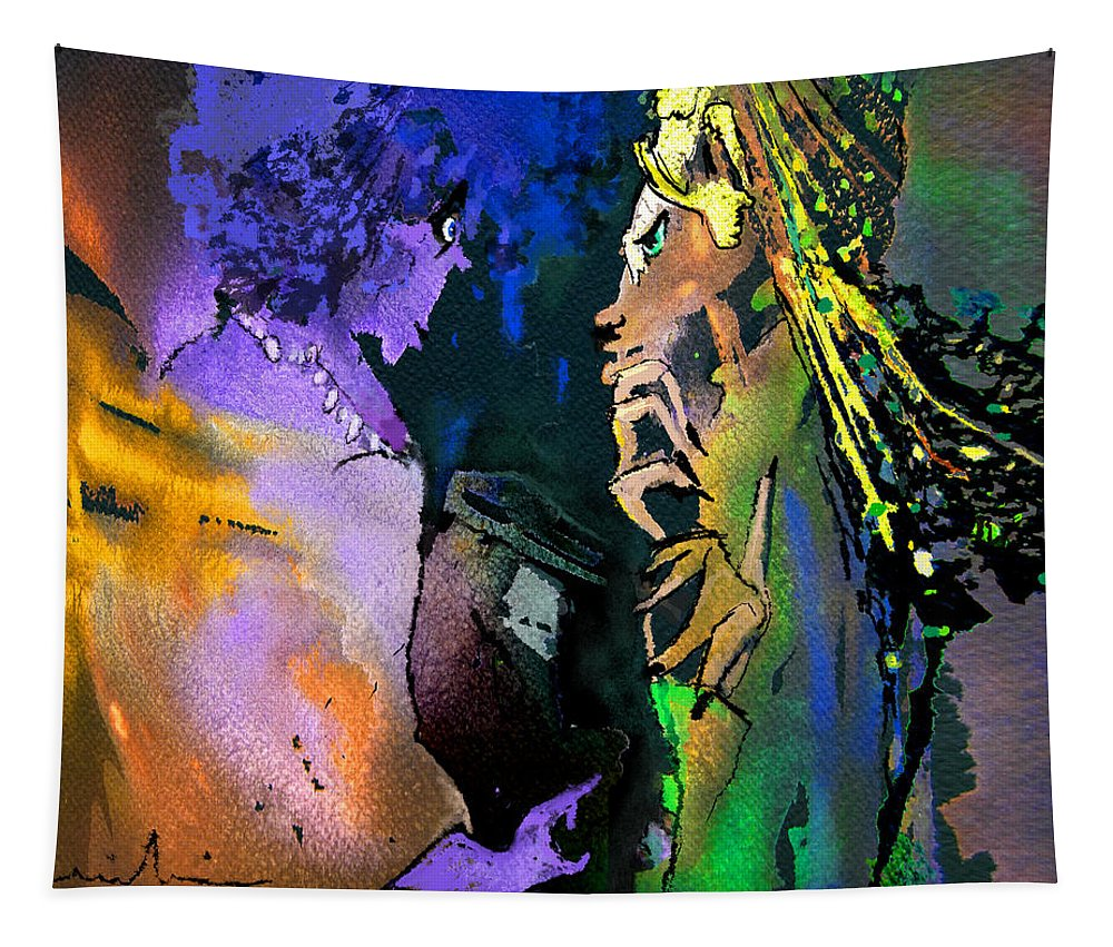 Masai Tapestry featuring the painting Masai Encounter by Miki De Goodaboom