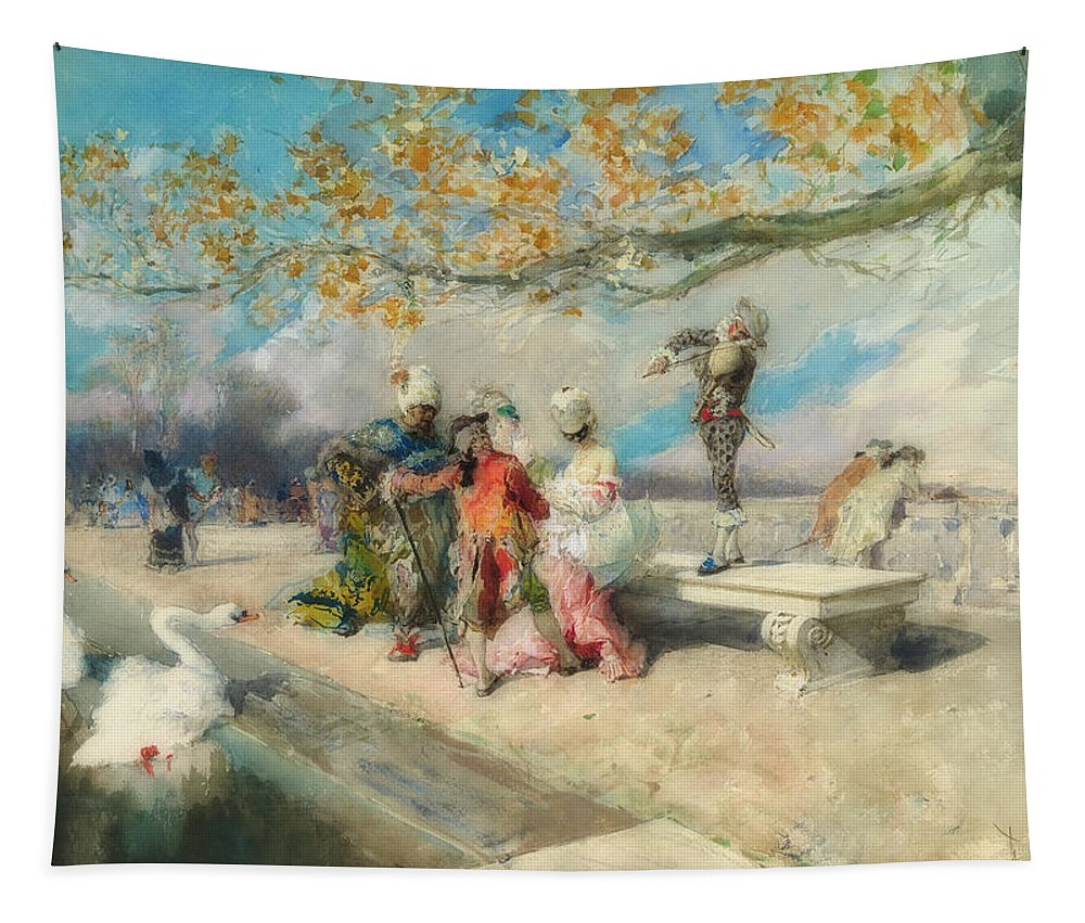 Painting Tapestry featuring the painting Masquerade by Mariano Fortuny