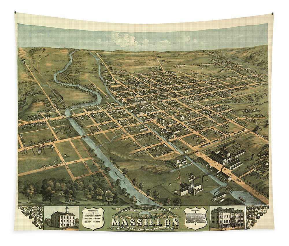 Map Tapestry featuring the mixed media Massillon Ohio 1870 by Mountain Dreams