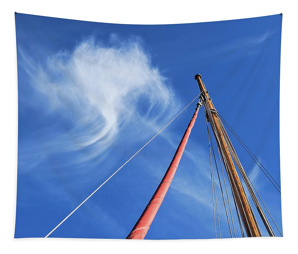 Lyme-regis Tapestry featuring the photograph Masts And Clouds by Susie Peek