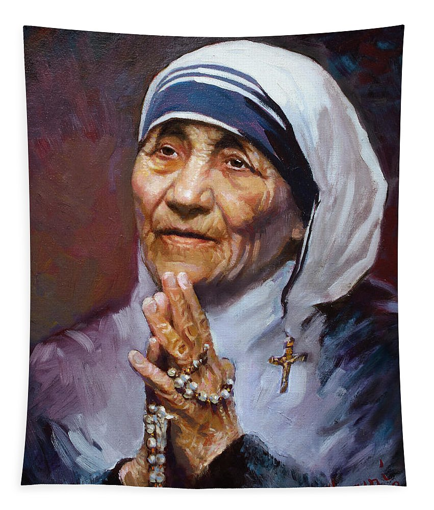 Mother Teresa Artwork Tapestry featuring the painting Mother Teresa by Ylli Haruni