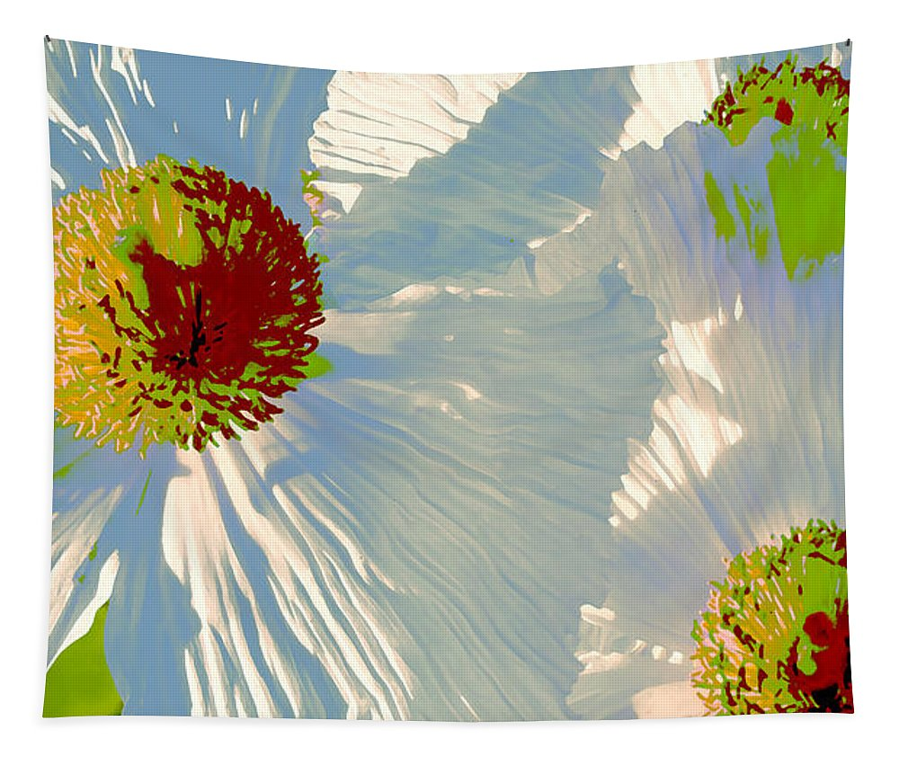 Floral Abstract Tapestry featuring the photograph Matilija Poppies Pop Art by Ben and Raisa Gertsberg