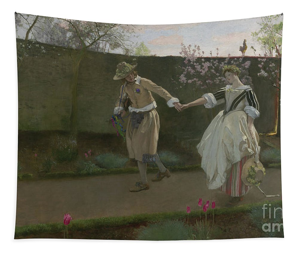 May Day Morning Tapestry featuring the painting May Day Morning by Edwin Austin Abbey