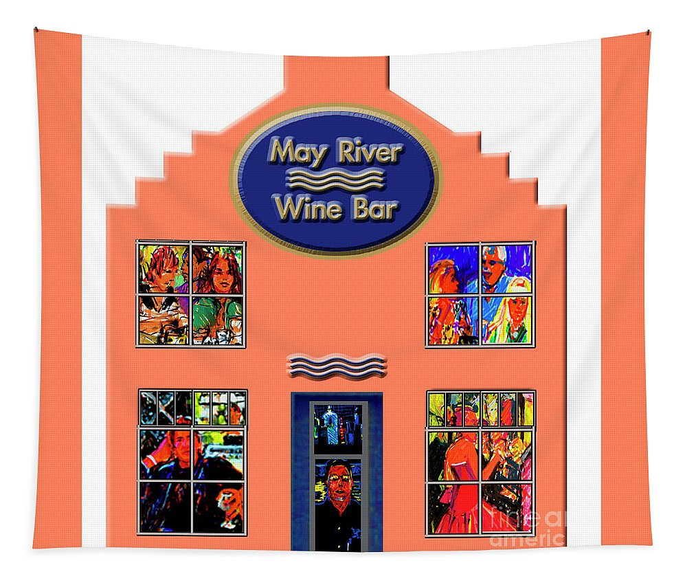 May River Wine Bar Tapestry featuring the painting May River Wine Bar by Candace Lovely
