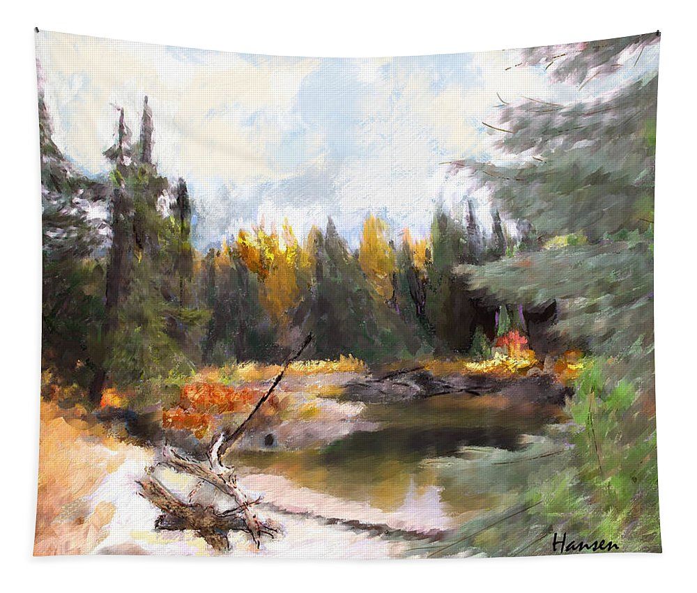 Mccall Tapestry featuring the painting Mccall Landscape by Mia Hansen