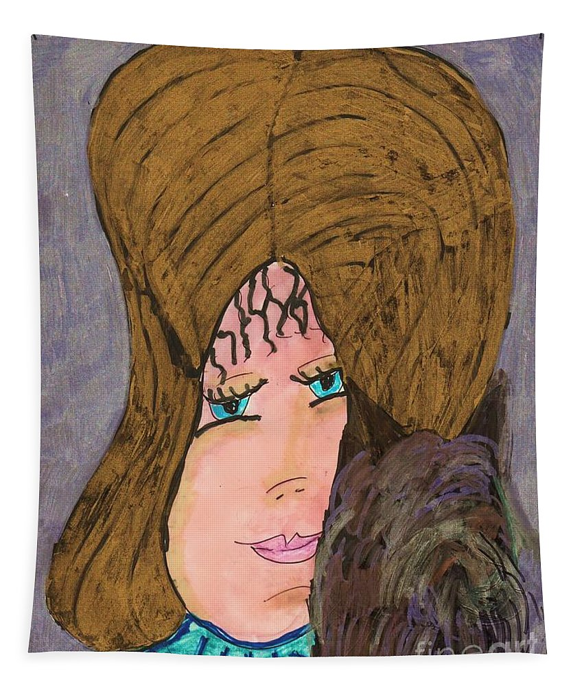 Pretty Golden Haired Blue Eyed Girl Holdting A Small Long Haired Dog Tapestry featuring the mixed media Me And My Silky Terrier by Elinor Helen Rakowski