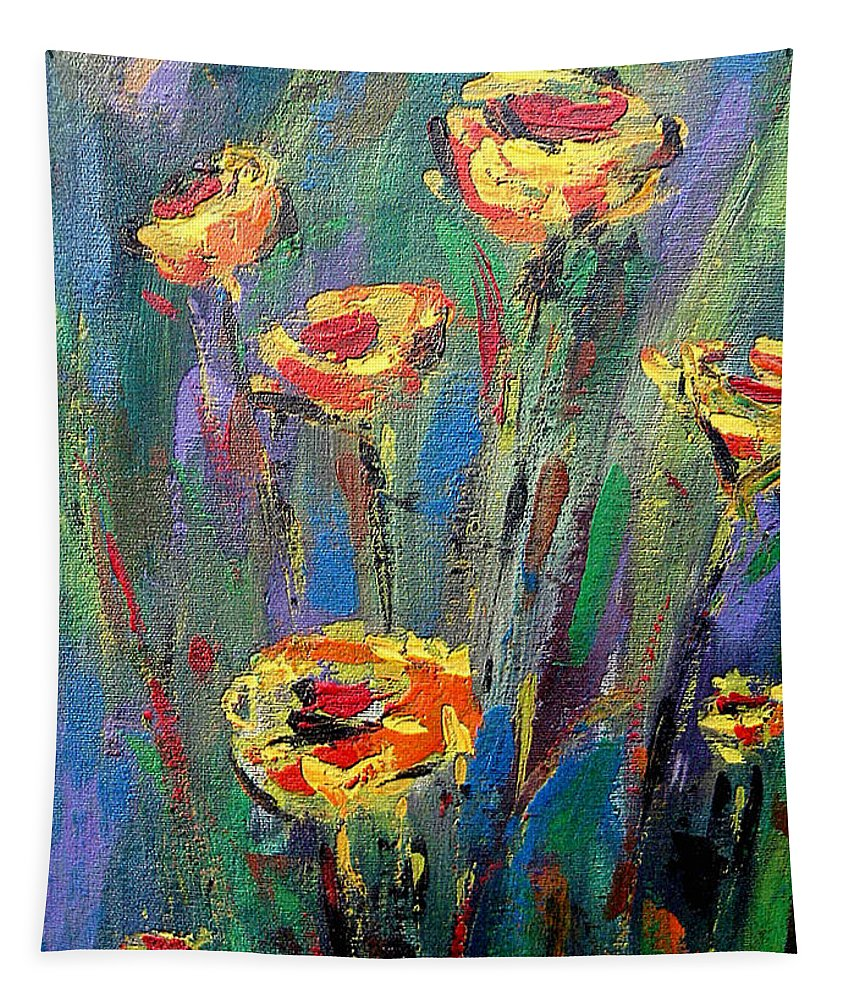 Meadow Tapestry featuring the painting Meadow Flowers by Dragica Micki Fortuna