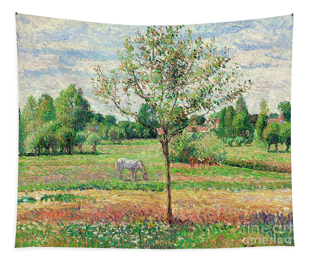 Pissarro Tapestry featuring the painting Meadow With Grey Horse, Eragny by Camille Pissarro