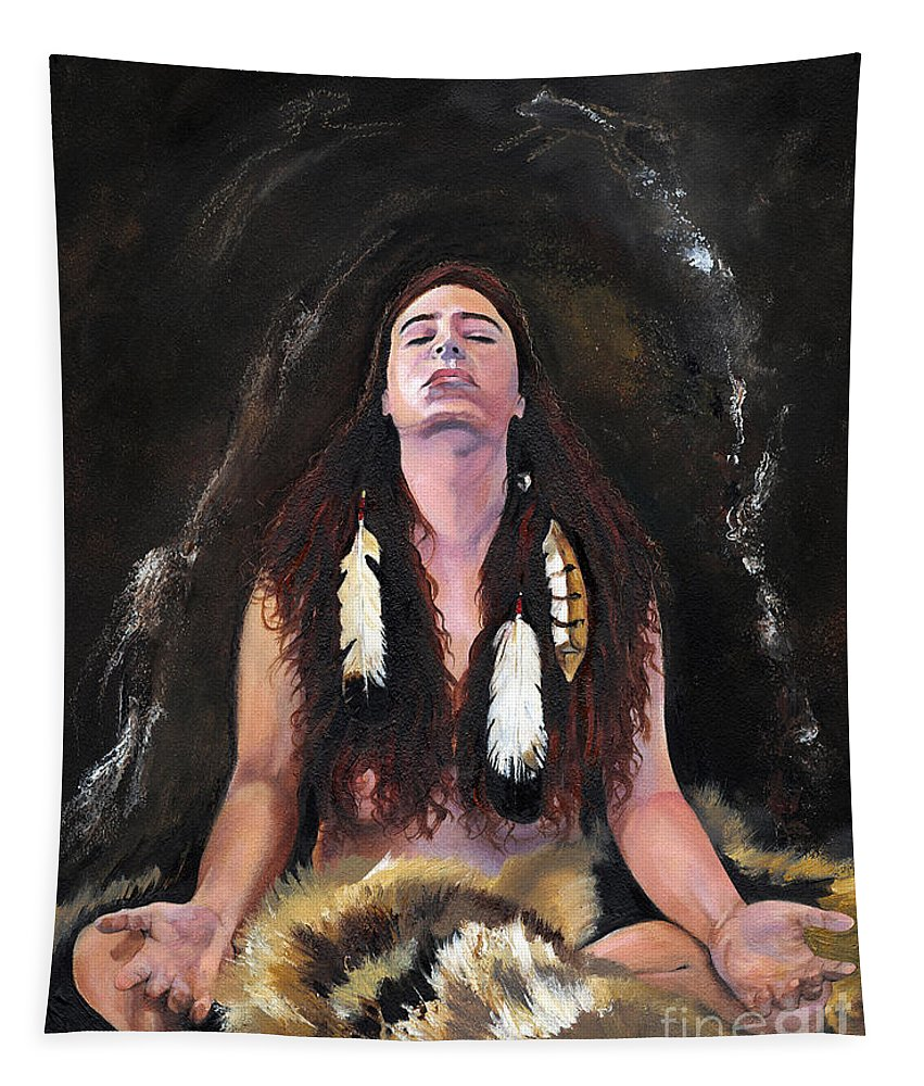 Southwest Art Tapestry featuring the painting Medicine Woman by J W Baker