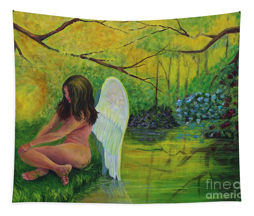 Angel Tapestry featuring the painting Meditation In Eden by Alina Martinez-beatriz
