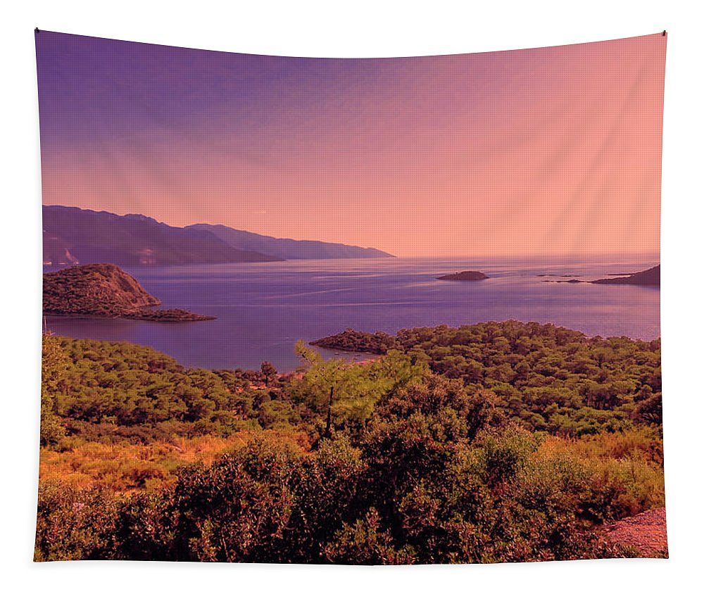 Mediterranean Sunset Glow Tapestry featuring the photograph Mediterranean Sunset Glow by Phyllis Taylor