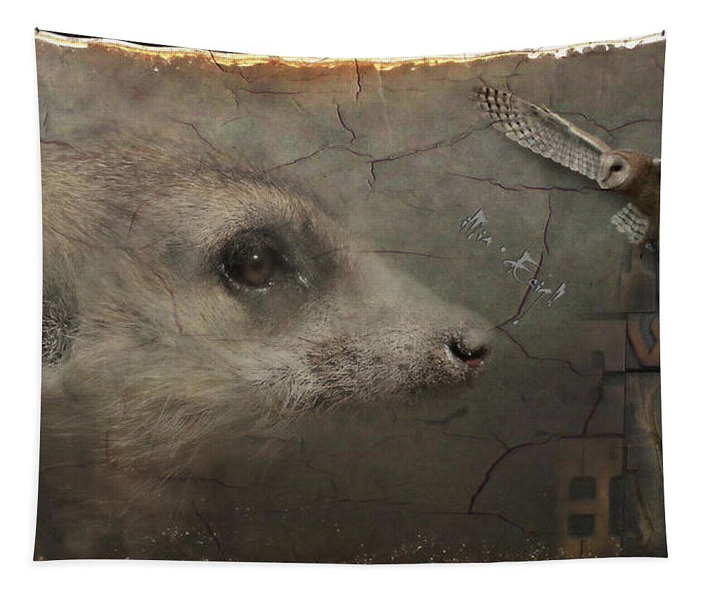 Imia Design Tapestry featuring the digital art Meerkat by Maria Astedt