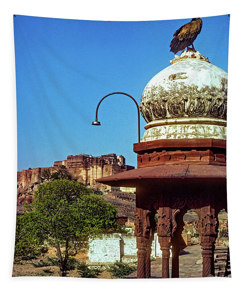 Mehrangarh Fort Tapestry featuring the photograph Mehrangarh Fort - Approach With Caution by Steve Harrington