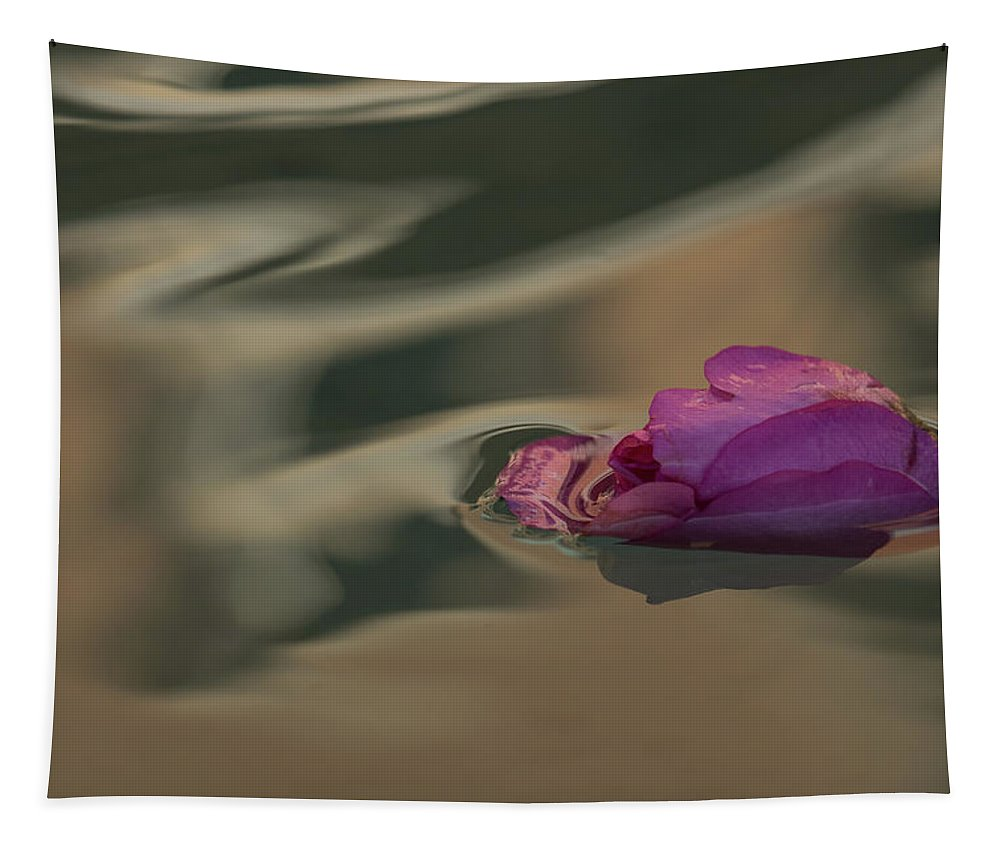 Georgia Mizuleva Tapestry featuring the photograph Melancholy - Discarded Rosebud Floating In A Fountain by Georgia Mizuleva