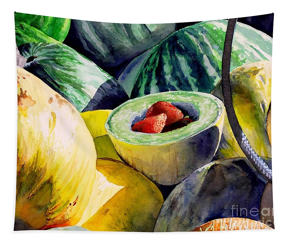 Still Life Tapestry featuring the painting #18 Melons Plus by William Lum
