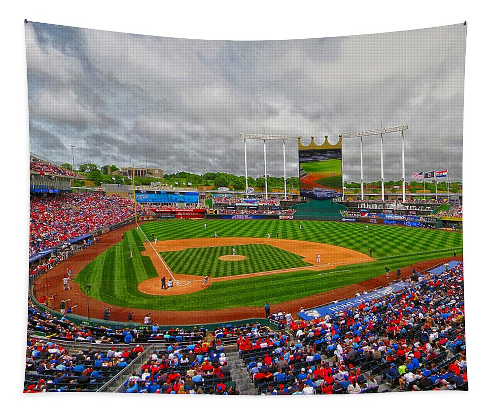 Baseball Tapestry featuring the photograph Memorial Day At Kauffman Stadium by C H Apperson