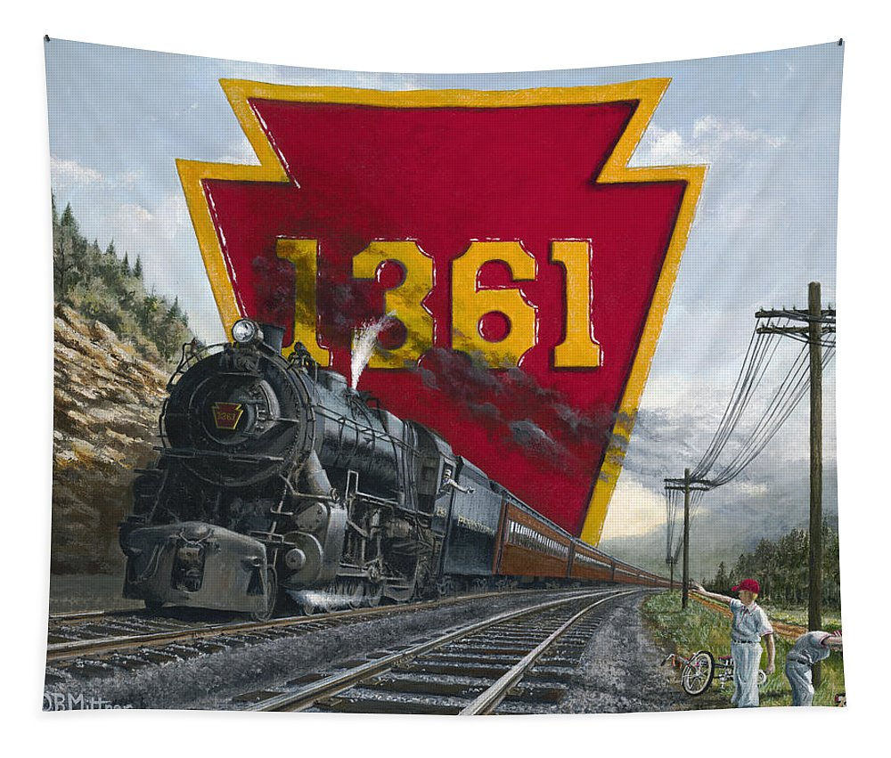 Trains Tapestry featuring the painting Memories Relived by David Mittner