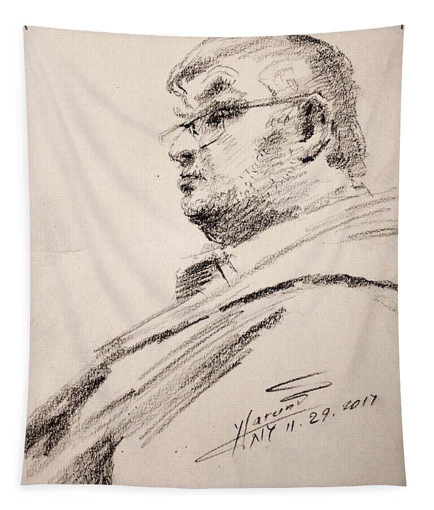 Sketch Tapestry featuring the drawing Men 5 by Ylli Haruni