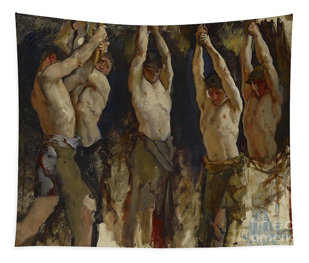 Working Tapestry featuring the painting Men At An Anvil, Study For The Spirit Of Vulcan by Edwin Austin Abbey