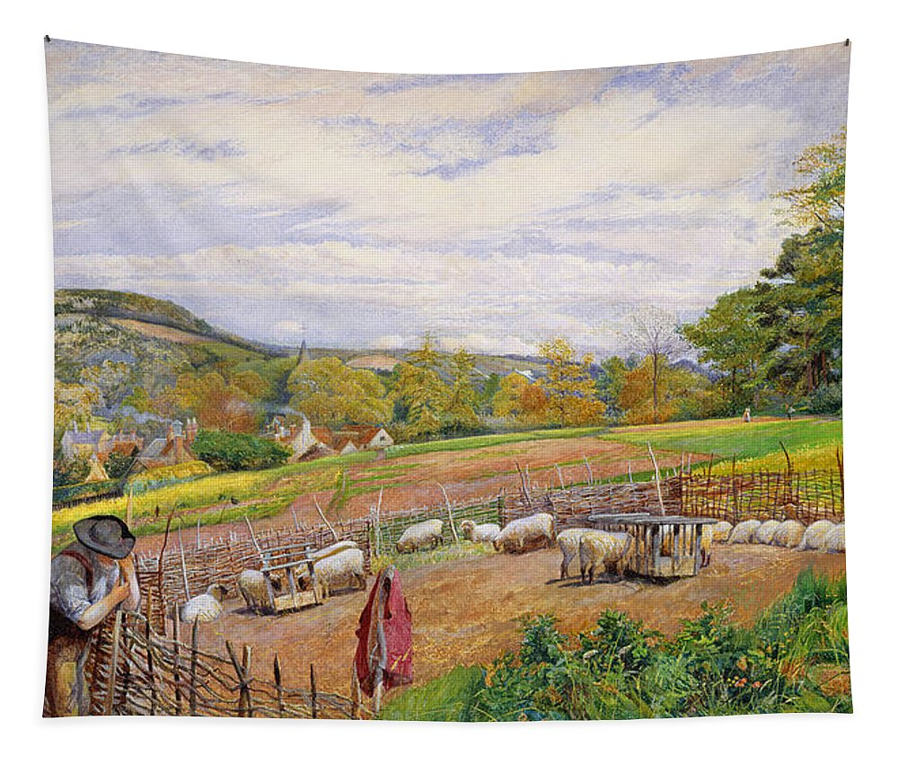 Mending Tapestry featuring the painting Mending The Sheep Pen by William Henry Millais