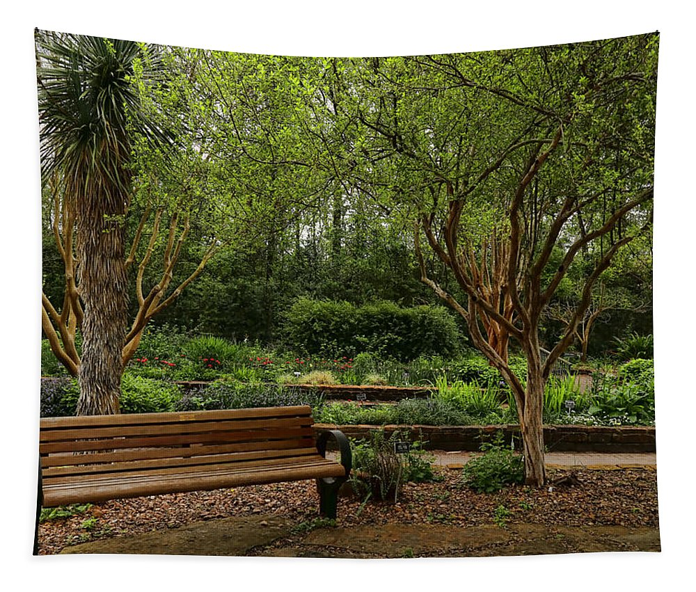 Bench Tapestry featuring the photograph Botanic Garden by Judy Vincent