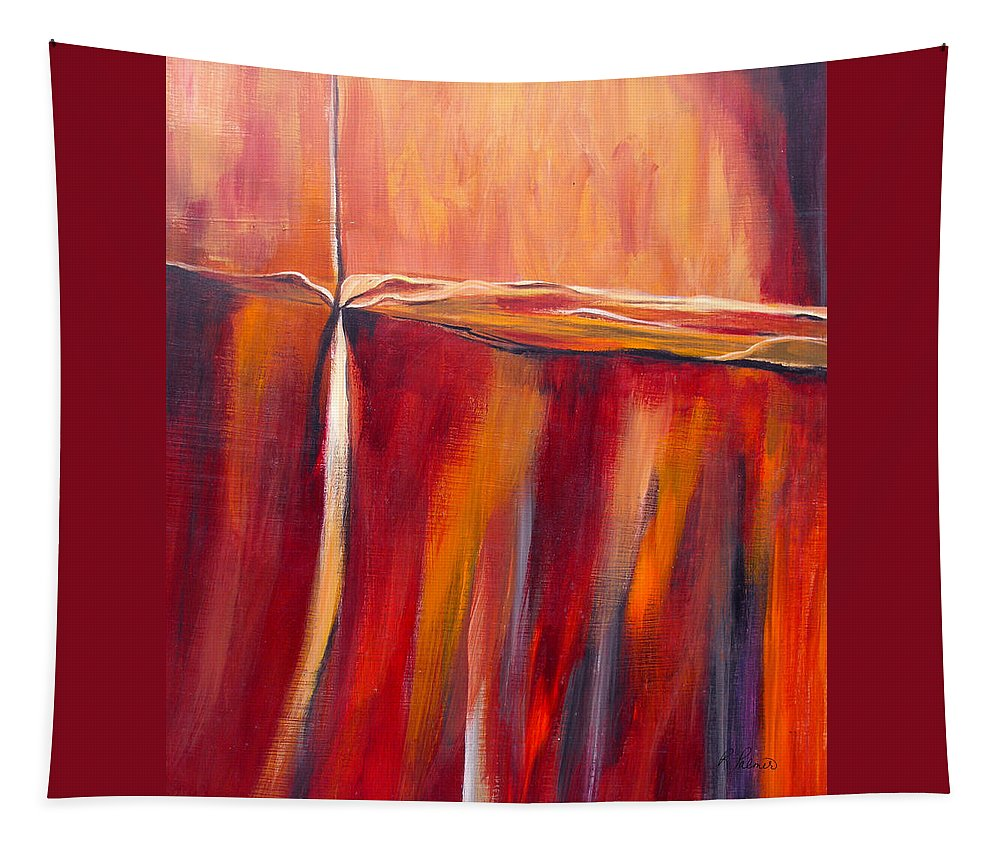 Abstract Tapestry featuring the painting Merge Left by Ruth Palmer