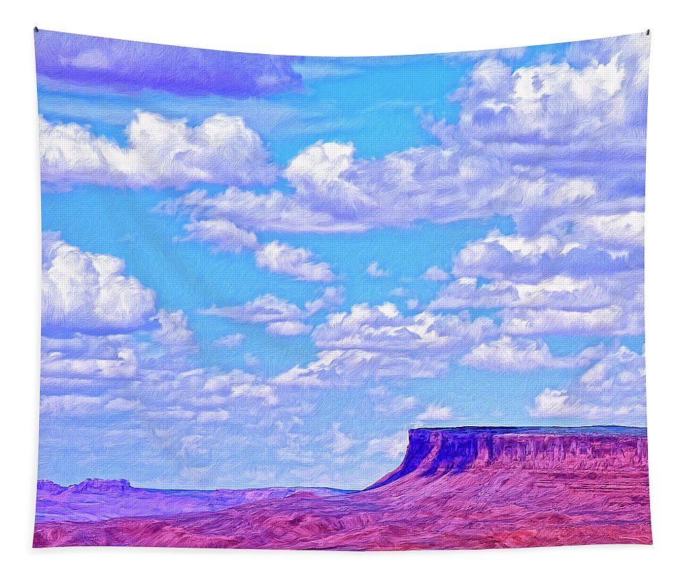 Mesa At Vermilion Cliffs Tapestry featuring the painting Mesa At Vermilion Cliffs by Dominic Piperata