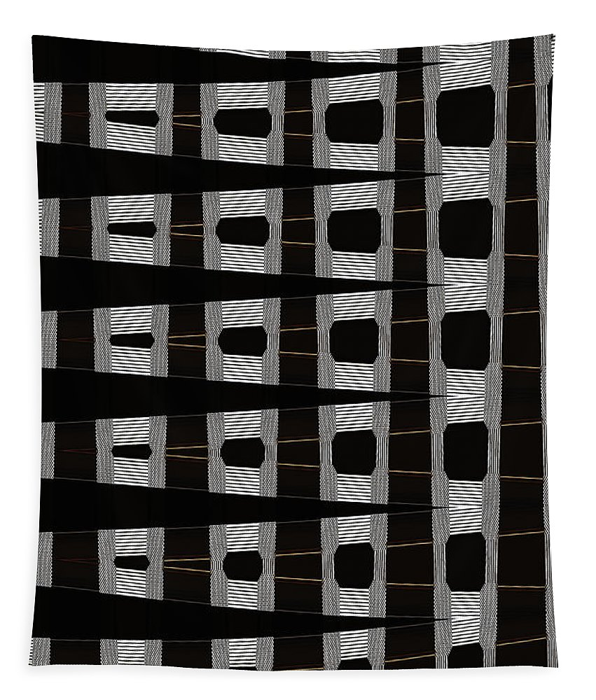 Metal Panel With Holes Abstract Tapestry featuring the digital art Metal Panel With Holes Abstract by Tom Janca
