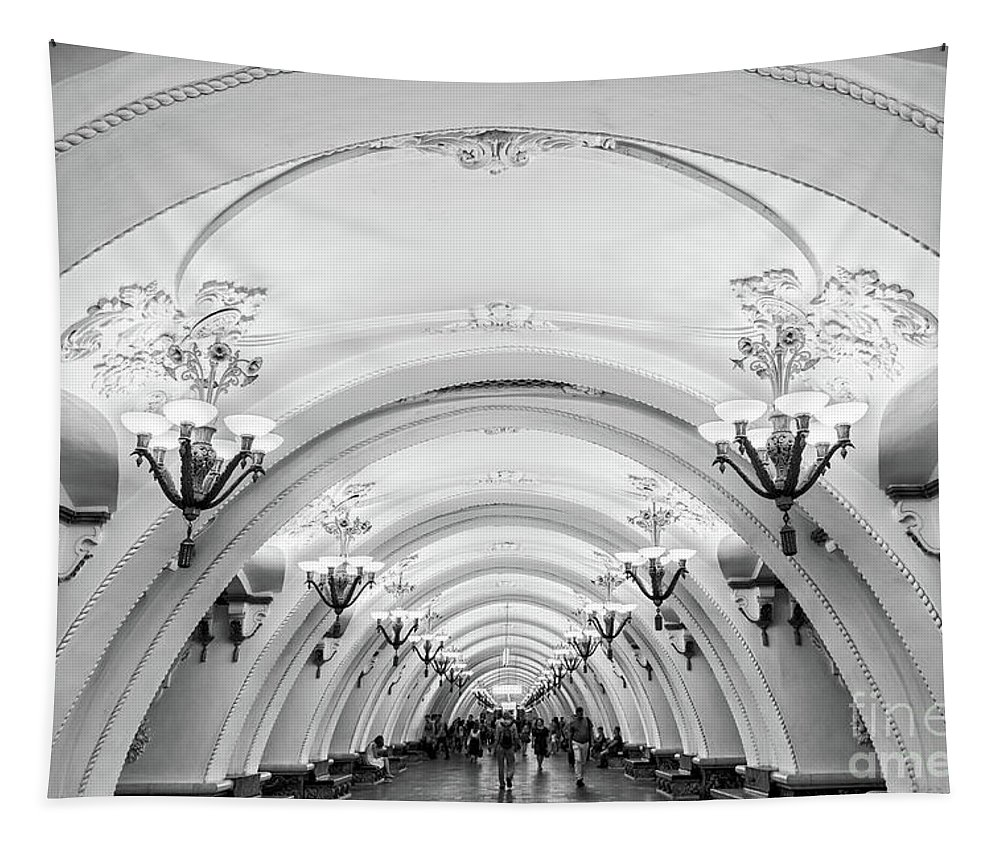 Moscow Tapestry featuring the photograph Metro Arbatskaya by Delphimages Photo Creations